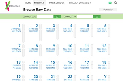 23AndMe Raw DNA Data Browser